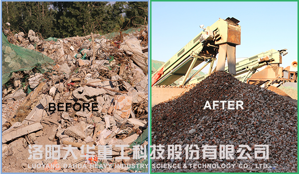construction waste crushing process